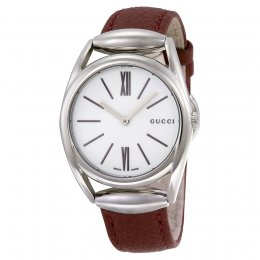 Gucci YA140403 Horsebit Brick Red Leather Women's Watch