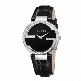Gucci YA133306 Interlocking-G Diamond Set Leather Band Women's Watch