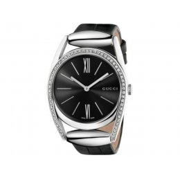 Gucci YA139403 Horsebit Diamond Black Leather Women's Watch