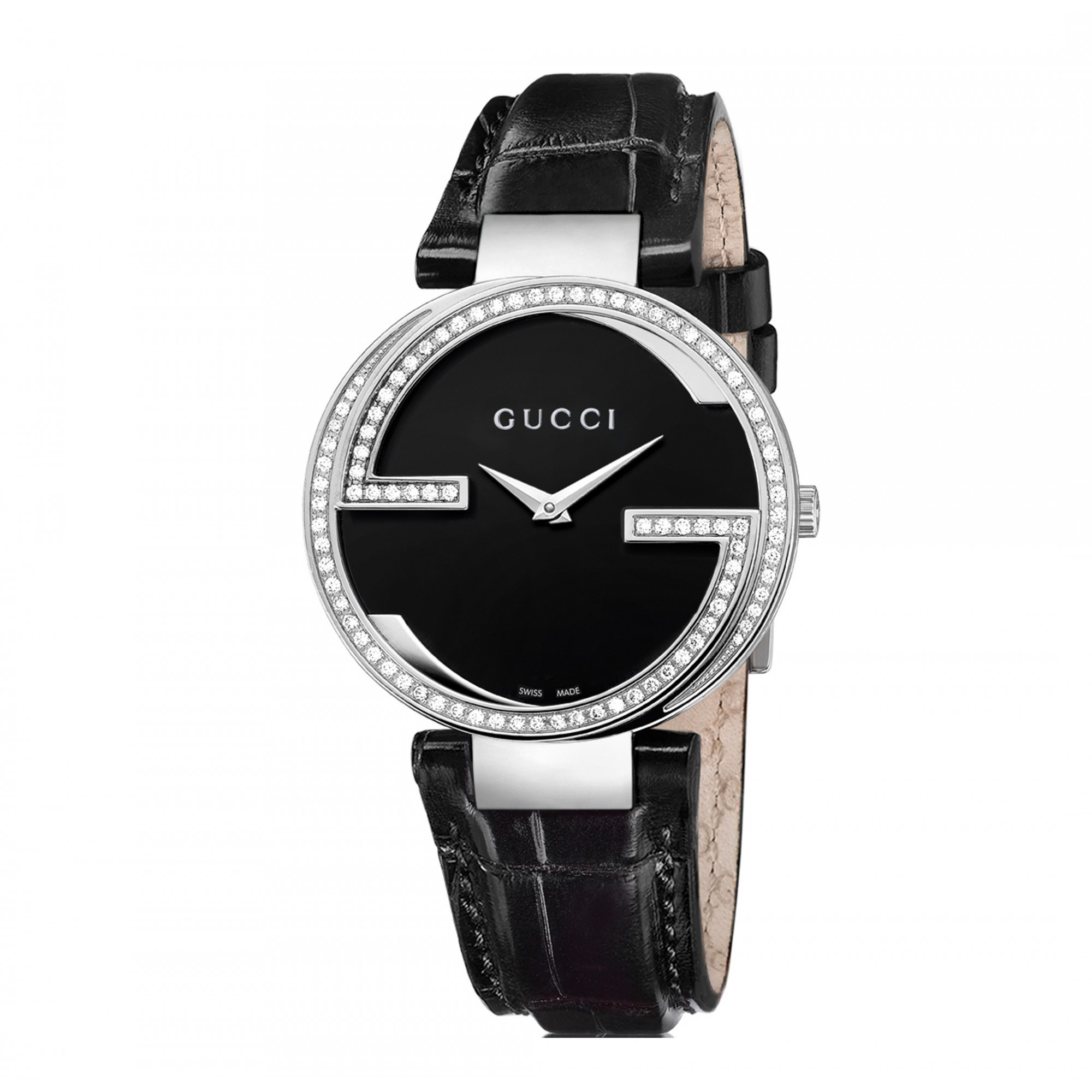 51a4f9f0638 Gucci YA133306 Interlocking-G Diamond Set Leather Band Women s Watch