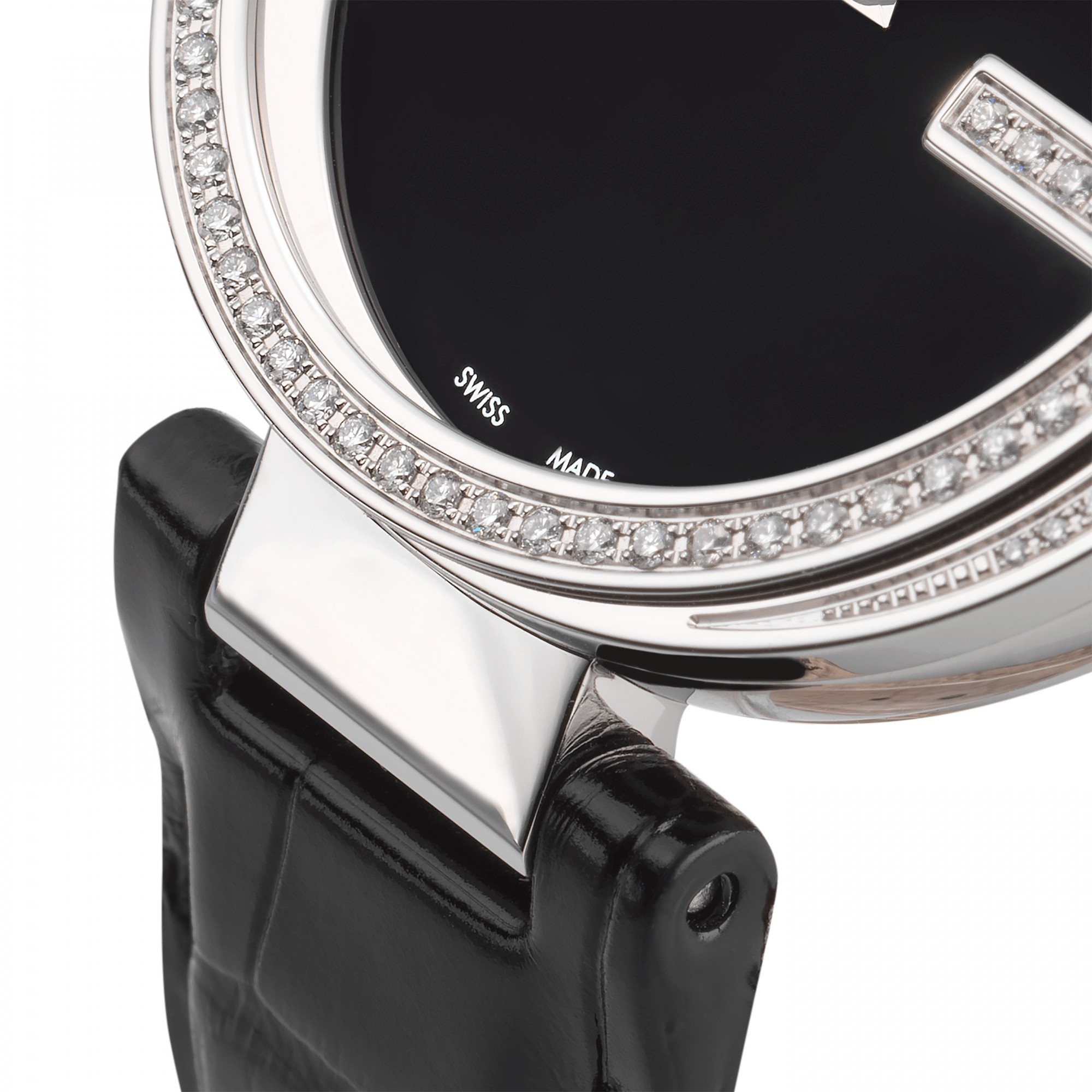 df0dec8f3c3 previous image next image. Gucci YA133306 Interlocking-G Diamond Set  Leather Band Women s Watch